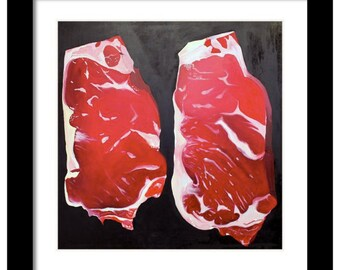 Kitchen Art, Meat Paintings, Meat Art, Food Painting, Steak Painting, Butcher, Steaks