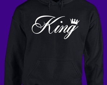 King  Hoodie, king and queen shirts, King and Queen Sweaters, couples shirts, his and hers, wifey shirt and hubby shirt, weddings
