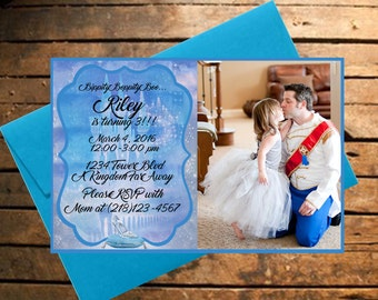 Downloadable Cinderella Themed Birthday Invitation With Photo