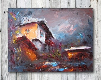Oil painting Modern Landscape painting Wall Oil Decor modern painting of nature Home decor Grey Blue Winter Landscape Palette knife
