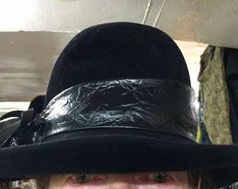 VINTAGE Black Wool & Cashmere Hat 1950s