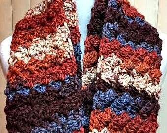Crochet Scarf, Infinity Scarf, Chunky Scarf, Brown Scarf, Winter Scarf, Knit Scarf, Scarf, Striped Scarf, Circle Scarf, Brown Infinity Scarf