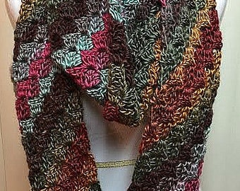 Striped Crochet Scarf, Brown Crochet Scarf, Multi Color Scarf, Striped Infinity Scarf, Brown Infinity Scarf, Brown Circle Scarf