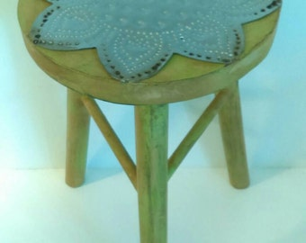 Vintage Wood Three (3) Legged Stool Painted Green with Metal Flower Detail on Seat-Accent Stool-Furniture-Retro Furniture-Floral Detail