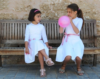 White  Charming Party Dress for Girls. Classic style. Comfortable to wear and wash.
