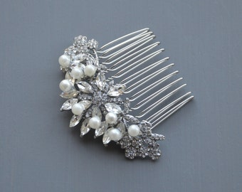 Floral Silver Wedding Comb, Crystal Pearl Hair Comb, Floral Bridal Hair Comb, Crystal Hair Comb, Floral Hair Comb, Floral Bridal Headpiece