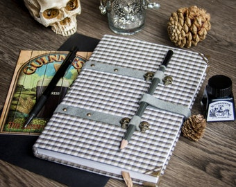plaid fabric sketchbook with skulls
