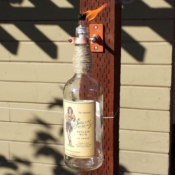 Handmade Sailor Jerry's Spiced Rum Liquor Bottle Tiki Torch