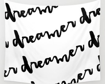 Dorm Decor, Imagine Lyrics, Wall Tapestries, Black and White Wall Decor, Horizontal Wall Art, Boho Tapestry, Wall Hanging, Teen Room Decor