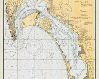1933 Nautical Map of San Diego Bay California