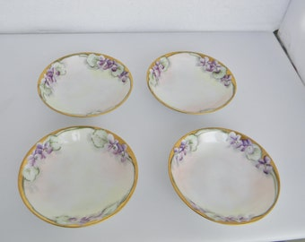 "Antique Bavaria Jaeger & Co Violets Porcelain Bowl Set of 4 -Artist Signed ""Emily Chase"" -Circa 1898-1911 - FREE USA SHIPPING"