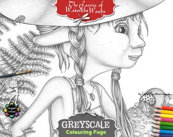 Greyscale Fairies Coloring Page for Adults - Rebella in the Woods - Fairies Coloring Book, Fantasy Coloring Book, Fairy Coloring Page