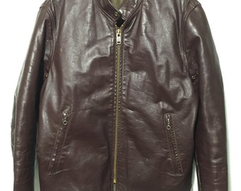 70's vintage motorcycle jacket leather quilt lining coat brown mens size 44