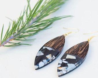 Wood earrings, Black earrings, Resin earrings, gift for women, Wood jewelry, resin jewelry, birthday gift, wood resin earrings