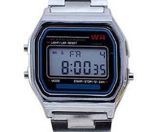 Silver digital Retro watch