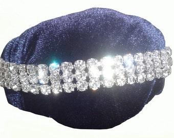 Bracelet with Silver Diamonds & Dark Blue Texture