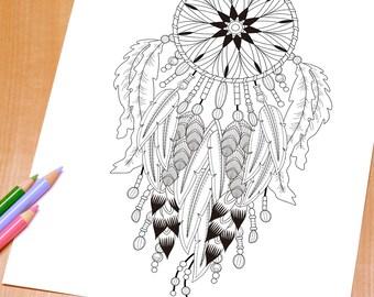 Graceful Dreamcatcher - Adult Coloring Page Print
