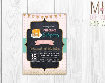 Cute pancake invite_2,Pancakes and PJs Party, Pancakes and Pajamas Party, Pancakes Invitation, Pancakes Invite and Party Decor