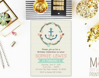 Nautical Birthday Invitation, Anchor Invitation, Sailor Birthday Invitation, Nautical Invitation, Anchors Away, Ahoy Invitation