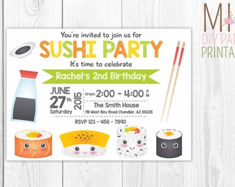 Sushi Invitation, Sushi Invitation Printable, Sushi Invitation DIY, Sushi party, Sushi invites, Sushi birthday invite, Sushi invite card