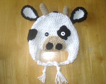 Crochet Baby Cow Hat, Animal Hat, Newborn, Baby, Toddler and Kids Cow Hat, Farm Animal, Earflap Hat, Boys, Girls