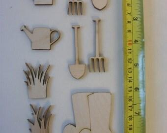 Wooden Embellishments - Gardening- Card Making, Scrap Booking, Craft Larger Size