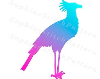 Bird Cross Stitch Pattern, Bird Silhouette, 126x163 Stitches, Colorful, Digital, Chart, PDF, Instant Download #07-09