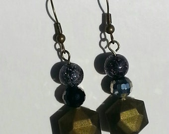 Olive drops with maximum sparkle earrings