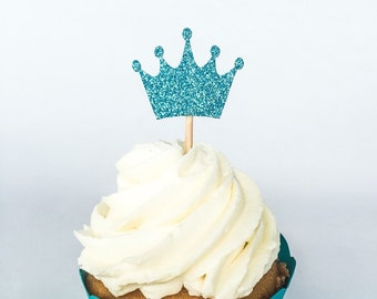 Blue Glitter Crown Cupcake Toppers • Prince Cupcake Toppers • King Cupcake Toppers • Birthday • Baby Shower • Food Pick