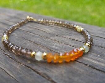 carnelian smoky quartz prehnite pyrite 14k gold fill bracelet