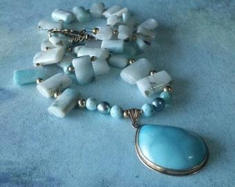 Larimar jewelry - Larimar necklace - 14 kt gold pendant - Larimar pendant - Rare gemstone - Ocean jewelry
