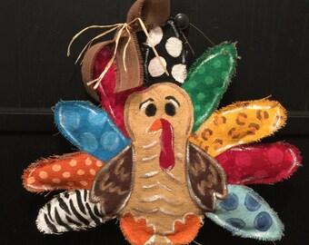 One Turkey burlap door hanger