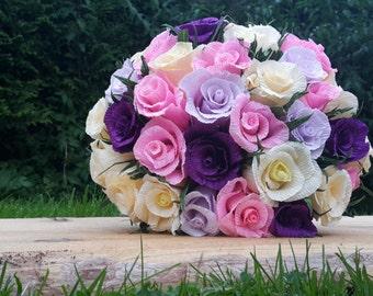 Purple Pink Ivory Bridal Wedding Crepe Paper Flowers Paper Roses