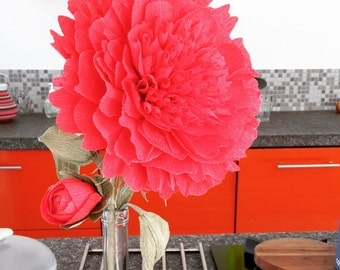 Red Peony Flower Gigant Crepe Paper Flower