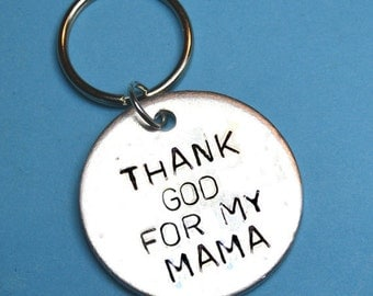 Mama, God, Christian, Mothers day gift, UK, Mom gift, gift for mother, Personalised gifts, Customised gift, Mother gift,hand stamped keyring
