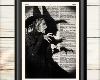 Wicked Witch, Wizard of Oz, Halloween Decor, Book Lover Gift, Horror, Book Art Print, 129