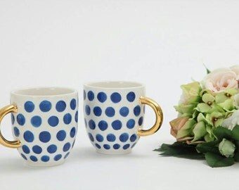 Handpainted blue/green dot mug with gold handle