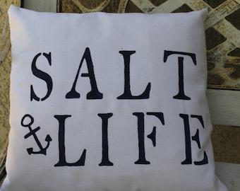 Coastal/Nautical Pillow: SALT LIFE Pillow