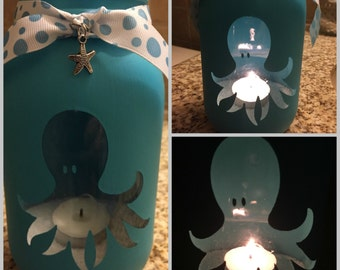 Octopus  Mason Jar Tea Light Candle Holder,Octopus