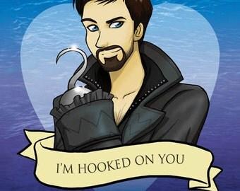 Captain Hook Valentine- Once Upon A Time fan art original illustration print