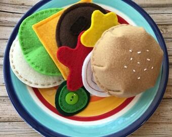 play food toy, felt play food burger set, pretend play burger, play food hamburger, dramatic play burger, pretend food, felt hamburger