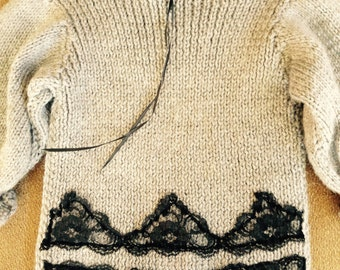 Handmade Sweater with lace detail