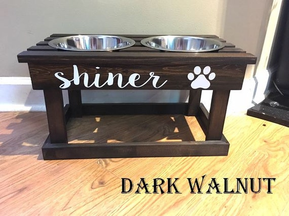 personalized elevated dog bowl stand wooden pet by. Black Bedroom Furniture Sets. Home Design Ideas