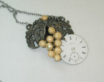 Pocket watch pearl pendant necklace scarf clip