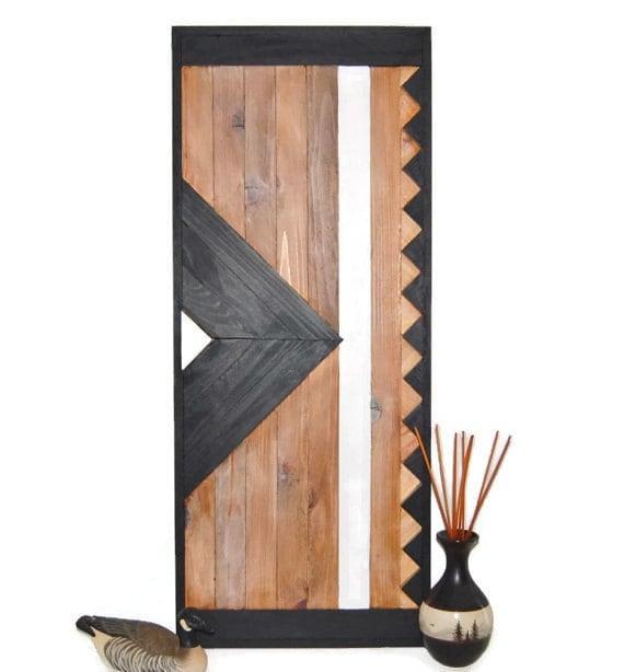 Chevron Wood Wall Decor : Chevron wall art reclaimed wood ooak rustic