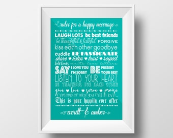 Personalized Wedding Print Rules For A Happy Marriage Gift Home Decor Anniversary Printable