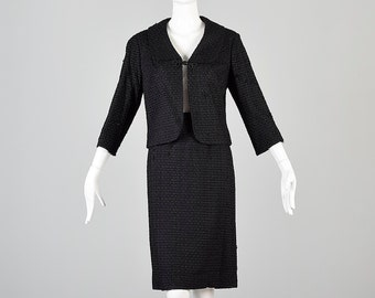 Medium 1960s Skirt Suit 60s Suit Black Two Piece Ribbon Suit Jacket Skirt Set Boxy Jackie O Mid Century Business Professional Woman Vintage