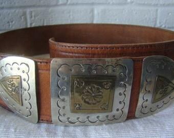 Moroccan Belt Leather & Metal Belt Artisan-Crafted Ethnic Belt