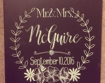 Mr. & mrs. Wedding customized chalkboard gift