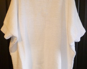 White oversize loose cotton sweater dress